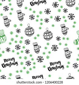 Dark Green vector seamless template with ice snowflakes, balls, socks, mittens. Shining colorful illustration in christmas style. Design for wallpaper, fabric makers.