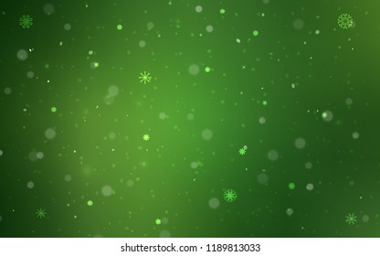 Dark Green vector template with ice snowflakes. Modern geometrical abstract illustration with crystals of ice. New year design for your ad, poster, banner.