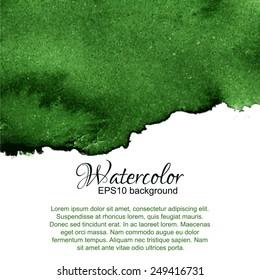 Dark green watercolor gradient top abstract frame.