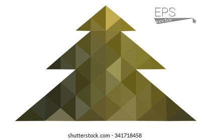 Dark green, yellow low poly style christmas tree vector illustration consisting of triangles. Abstract triangular poly origami or crystal design of New Years celebration. Isolated on white background