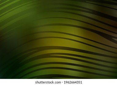 Dark Green, Yellow vector backdrop with bent lines. Smart illustration in abstract style with gradient lines.  A sample for your ideas.