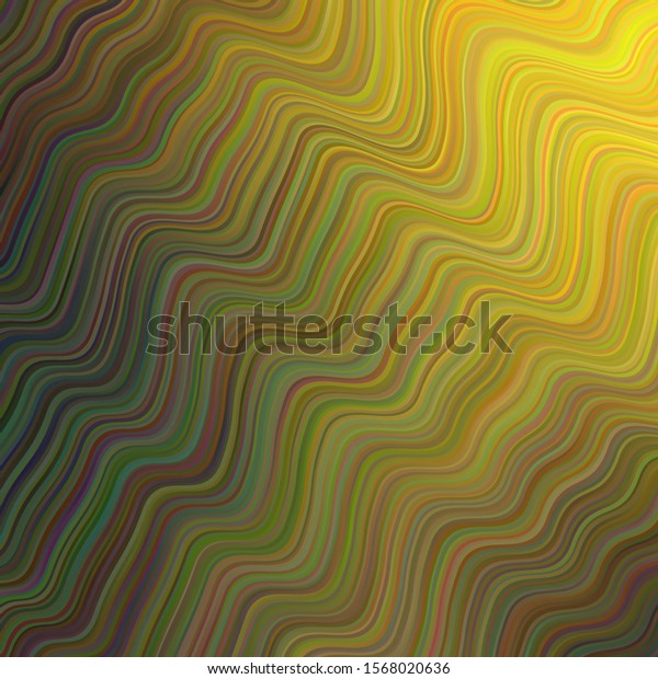Dark Green, Yellow vector background with wry lines. An elegant bright illustration with gradient. New composition for your brand book.