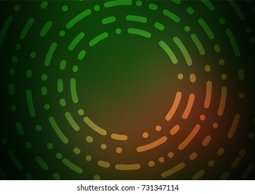 Dark Green, Yellow vector indian curved background. Colorful abstract illustration with lines in Asian style. The pattern can be used for heads of websites and designs.