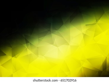Dark Green, Yellow vector low poly background. A vague abstract illustration with gradient. A completely new template for your business design.