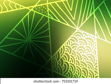 Dark Green, Yellow vector natural abstract template. Creative illustration in blurred style with doodles and Zen tangles. Hand painted design for web, leaflet, textile.