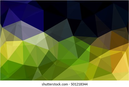 Dark green-yellow blurry triangle pattern. Colorful illustration in abstract style with gradient. A completely new template for your business design.