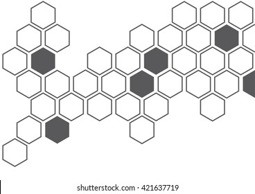 Dark grey illustration of hexagon pattern is abstract pattern arranged of hexagon from shape of beehive and honeycomb