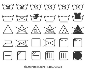 dark grey monochrome simple laundry symbols round or curved style icons set element for garment industry flat vector design collection