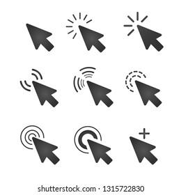 dark grey mouse cursor icon set on white