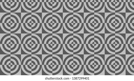 Dark Grey Quarter Circles Pattern Background