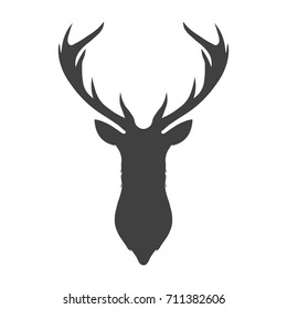 Dark grey silhouette of a deer head and antlers icon. Template logo design. Vector illustration