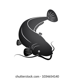Dark Grey Smiling Catfish in Reverse Outline Style Illustration.