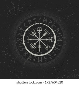 Dark grunge background with white circle ancient gothic symbols. Runic signs for decoration wallpapers