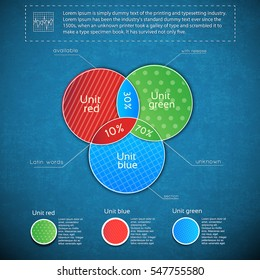 Dark grunge diagram set with three interconnected circles and percentage ratio on blue background vector illustration