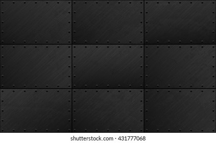 Dark grunge seamless metal plate texture with rivet. Vector scratched riveted surface background. Heavy armor industrial design