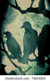 Dark Grunge Vector Ravens on Tree