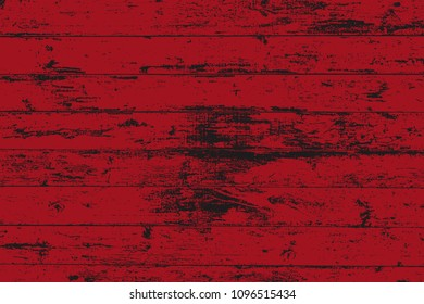 Dark grunge wood overlay horizontal texture. Vector illustration background in deep red and black, horizontal format. Natural rustic distressed backdrop.