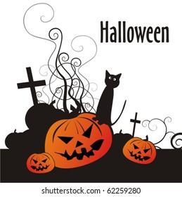 Dark Halloween card with cat, pumpkin and sepulchral cross