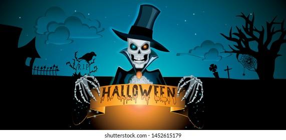 Dark Halloween illustration customizable template for background