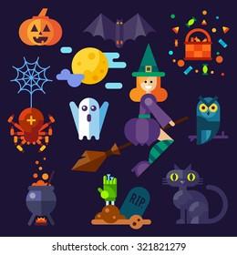 Dark halloween set. Halloween attributes: pumpkin, bat, spider with web, owl, witch on a broom, black cat, grave, pot ,spooky ghost. Flat vector illustration set.