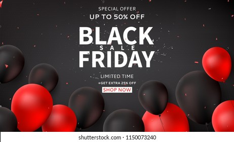 Dark horizontal web banner for Black Friday sale. Dark background with black and red balloons for seasonal discount offer. Vector illustration with confetti and serpentine.