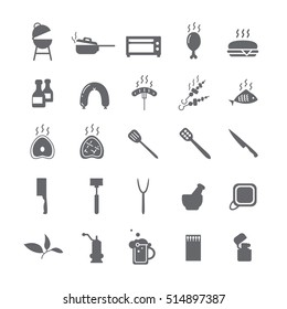 Dark icons with barbecue