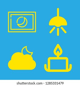 dark icons set with lamp, astro photography and cloudy night weather symbol vector set