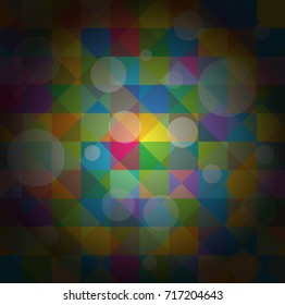 Dark Illuminated Mosaic Bokeh Background