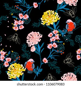 Dark japanese garden night  blooming flowers, branches, leaves and birds. Vector seamless pattern. Illustration for fabrics,and all prints on black background color