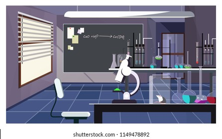 Dark laboratory room with glassware on table vector illustration. Workspace with table full of instruments for scientific experiment. Chemistry concept