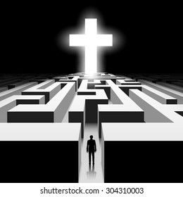 Dark labyrinth. Silhouette of man. White Cross. Stock vector image.