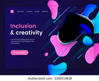 Dark landing page template with a liquid futuristic background - Inclusion and Creativity, can be used for innovation startup, development and creative dynamic web sites. Header for website. Vector