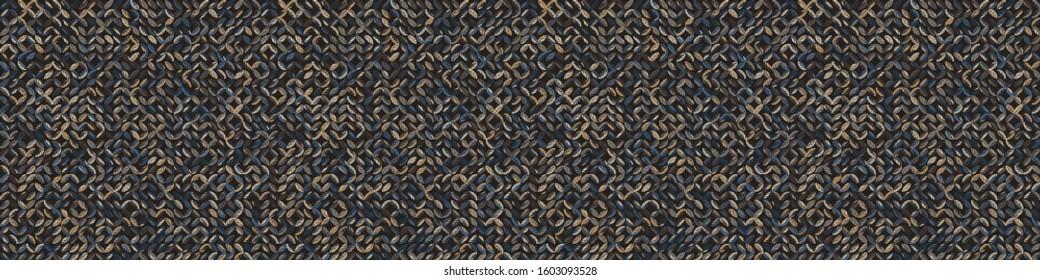 Dark leaf mosaic effect vectorbanner texture. Masculine geometric seamless border melange pattern. Hand drawn variegated irregular shapes background. Textured classic brown hipster ribbon trim.
