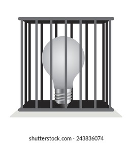 Dark light bulb in a cage like a man who think inside box.vector Illustration.