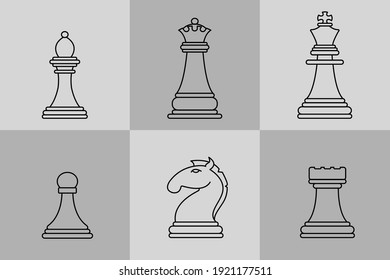Dark and light chess figures isolated on white background vector stock illustration. Graphic pieces, objects in simple design. Elements of chessboard.
