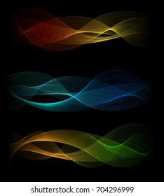 Dark light speed sound waves abstract vector background. Rainbow lines spectrum wave flow smoke on black