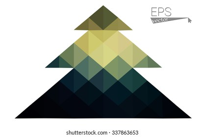 Dark low poly style christmas tree vector illustration consisting of triangles. Abstract triangular poly origami or crystal design of New Years celebration. Isolated on white background