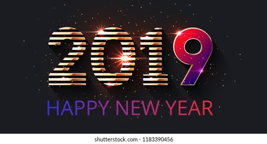Dark luxury festive background with golden striped numbers for website headers, banners or greeting cards. 2019 text design. Happy New Year lettering
