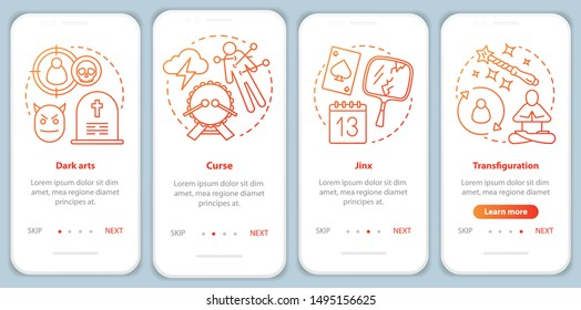 Dark magic onboarding mobile app page screen vector template. Transfiguration, curse spells walkthrough website steps with linear illustrations. UX, UI, GUI smartphone interface concept