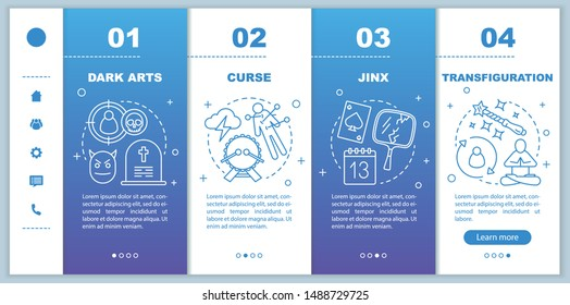 Dark magic onboarding mobile web pages vector template. Curse, jinx responsive smartphone website interface idea with linear illustrations. Webpage walkthrough step screens. Color concept