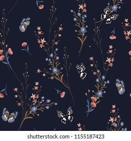 Dark Meadow flowers blowing in the wind with butterflies soft and gentle seamless pattern on vector design for fashion,fabric,wallpaper and all prints on navy blue background.