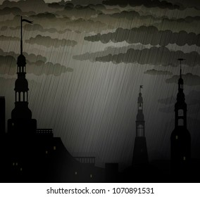 Dark medieval city background with towers under the rain, rain in the city, vector,