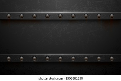Dark metal background with rivets