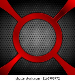 Dark metal perforated background with red circle shape. Vector design