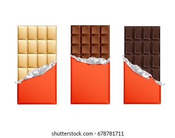 Dark and milk candy chocolate bars in vintage bar wrappers with foil. Vector illustration