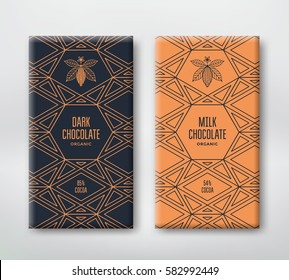 Dark and milk chocolate packaging design. Line illustration cocoa and geometric pattern. Vector template