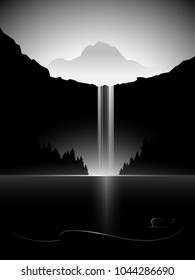 dark minimal vector landscape with waterfall, lake and mountain peak
