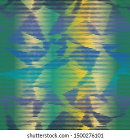 Dark moody striped variegated bleed ink holographic pearlescent opalescent geometric seamless repeat vector pattern swatch.  Blue, green, purple and gold.