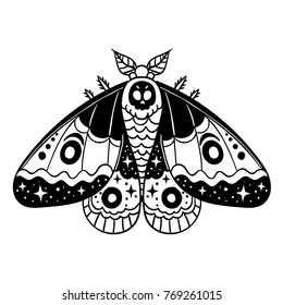 The dark moth with skull and stars on the wings. Good for tattoo, logo, stikers and etc. Vector illustration.