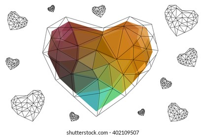 Dark Multicolor heart isolated on white background. Geometric rumpled triangular low poly origami style gradient graphic illustration. Vector polygonal design for your business.